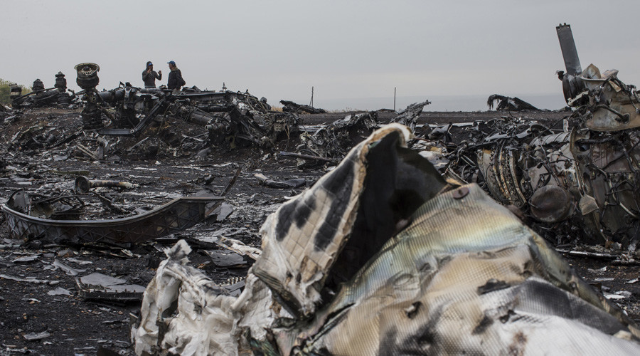 People talk near the remains of fuselage of the downed Malaysia Airlines flight MH17, near the village of Grabovo in Donetsk region, September 9, 2014. © Marko Djurica