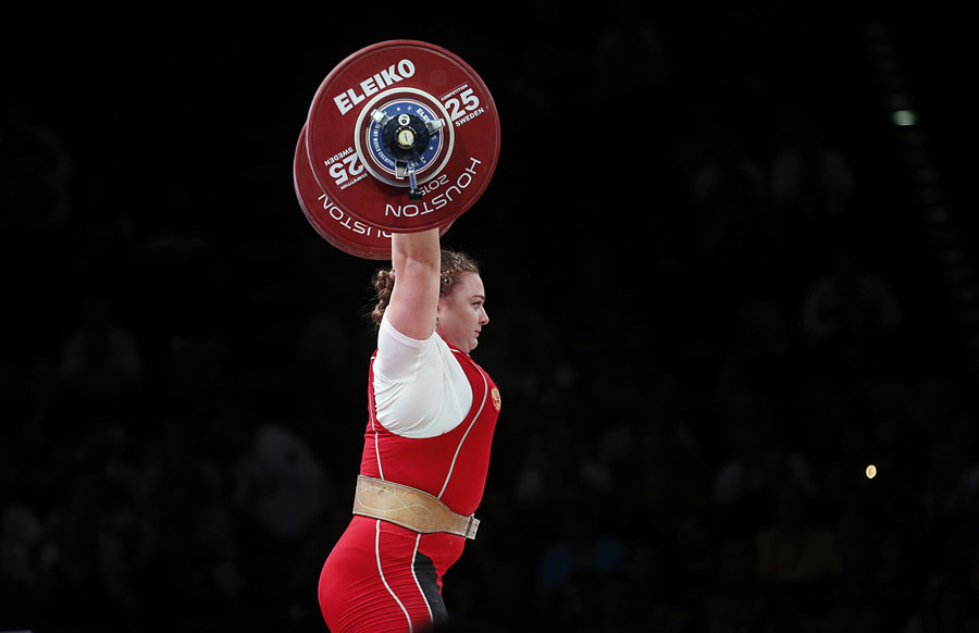 Nov 28, 2015; Houston, TX,USA; Tatiana Kashirina from Russia competes in the women's + 75 kg Group A division during the International Weightlifting Federation World Championships at George R. Brown Convention Center. ©Thomas B. Shea / USA TODAY Sports