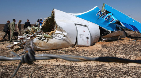 Russian EMERCOM head Vladimir Puchkov, background fourth left, examines the fragments of the Airbus A321 that was carrying out Kogalymavia Flight 9268 from Sharm el-Sheikh to St. Petersburg, on the crash site 100 km south of El Arish in the northern Sinai Peninsula. © Maxim Grigoryev
