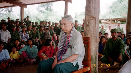 Notorious Khmer Rouge leader Pol Pot pictured during his show trial July 25, 1997, at the Khmer Rouge stronghold of Anlong Veng in northern Cambodia. © Reuters