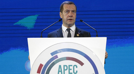 November 18, 2015. Prime Minister Dmitry Medvedev speaks at a session of the APEC Economic Leaders' Meeting on Russia's approach to developing trade and investment cooperation. ©Dmitry Astakhov
