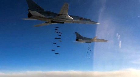 A Tupolev Tu-22M3 long-range strategic and maritime strike bomber of the Russian Aerospace Forces during a combat flight to strike the Islamic State infrastructure facilities in Syria by OFAB-25-270 fragmentation high explosive bombs. © Ministry of defence of the Russian Federation