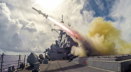 US Navy Arleigh Burke-class guided-missile destroyer USS Fitzgerald (DDG 62) fires a Harpoon missile during a live-fire drill on August 12, 2015 in the waters near Guam. © US Navy