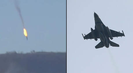 Russian Su-24 jet (© RT) and a Turkish F-16 fighter jet (R) (© Murad Sezer / Reuters)
