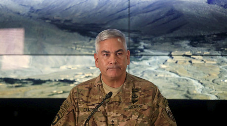 U.S. Army General John Campbell, the commander of international and U.S. forces in Afghanistan, speaks during a news conference at Resolute Support headquarters in Kabul, Afghanistan, November 25, 2015. © Massoud Hossaini