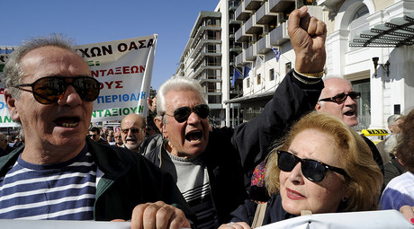 Pensioners shout anti-austerity slogans during a protest in central Athens, Greece © Michalis Karagiannis
