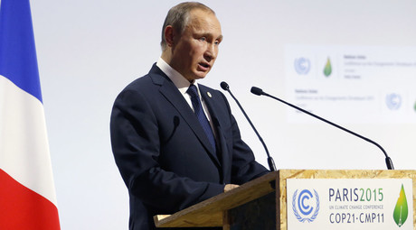 Russian President Vladimir Putin delivers a speech for the opening day of the World Climate Change Conference 2015 (COP21) at Le Bourget, near Paris, France, November 30, 2015. © Stephane Mahe
