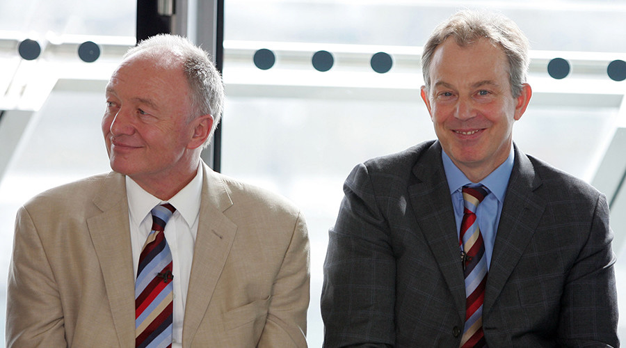 Former Britain's Prime Minister Tony Blair (R) sits with Former London Mayor Ken Livingstone (L) © Stephen Hird