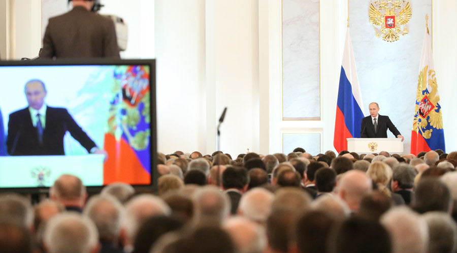 Russia's President Vladimir Putin addresses the Federal Assembly © Sergei Karpukhin