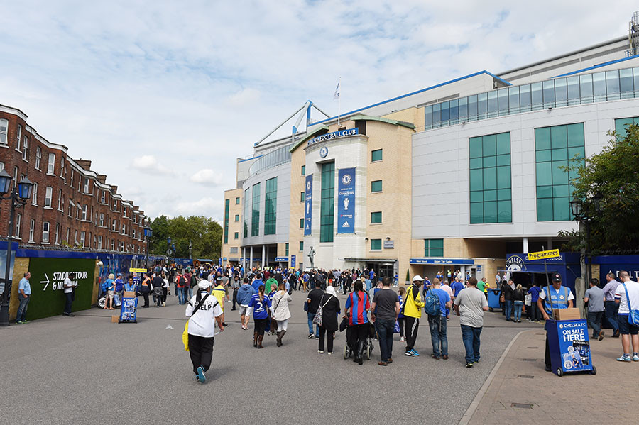 General view of fans outside Stamford Bridge before the match