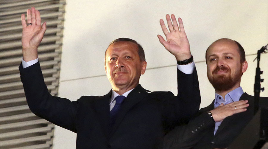 Turkish President Tayyip Erdogan (L) and  his son Bilal. ©Reuters