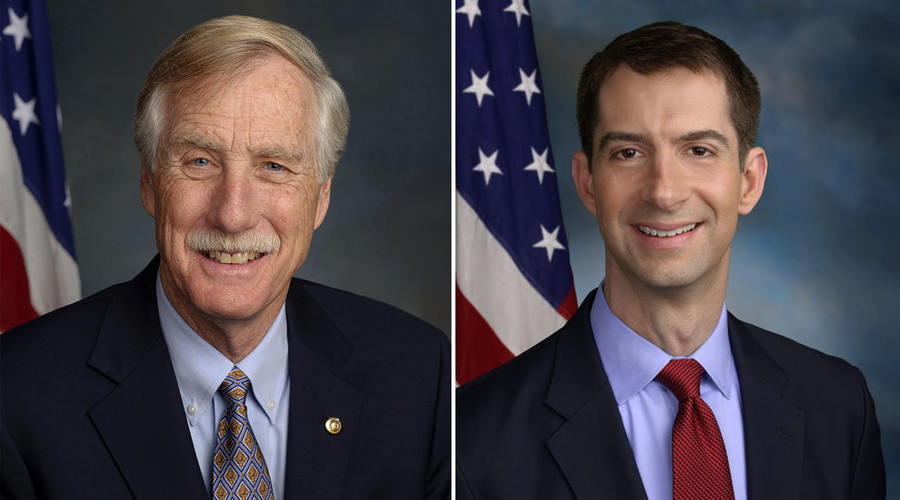 Angus Stanley King, an American politician and the junior United States Senator from the state of Maine (left). Tom Cotton, an American politician, the junior United States Senator from Arkansas, a member of the Republican Party (right).