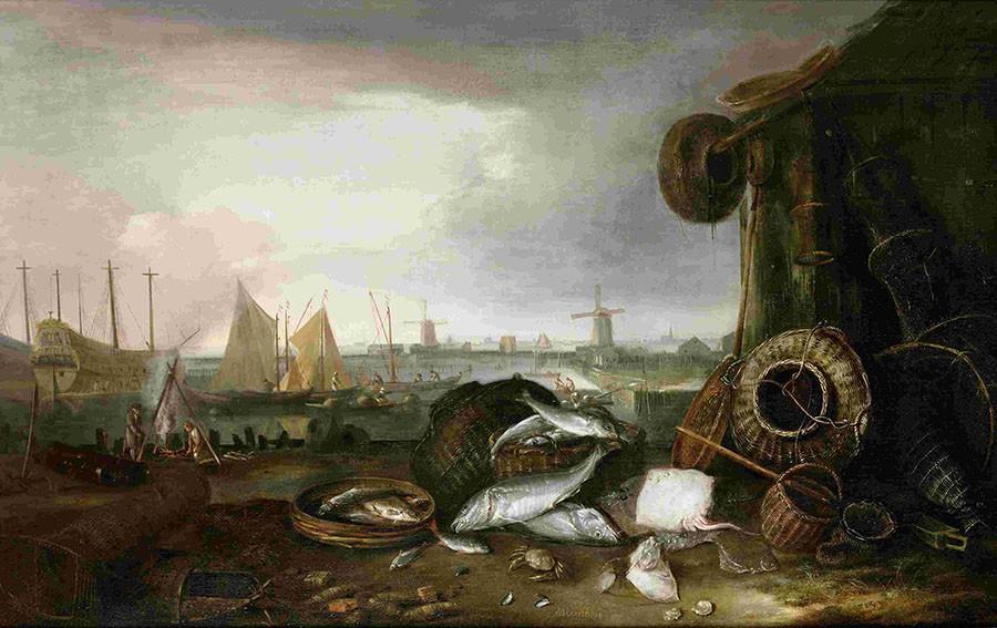 Matthias Withoos. De Grashaven. Stolen from Westfries Museum in 2005. © Wikipedia