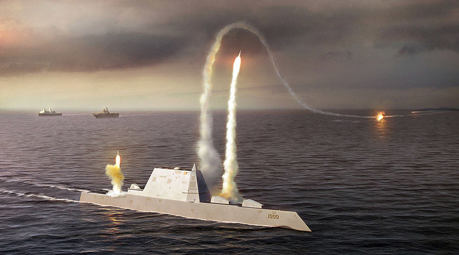 An artist rendering of the Zumwalt class destroyer. © Wikipedia