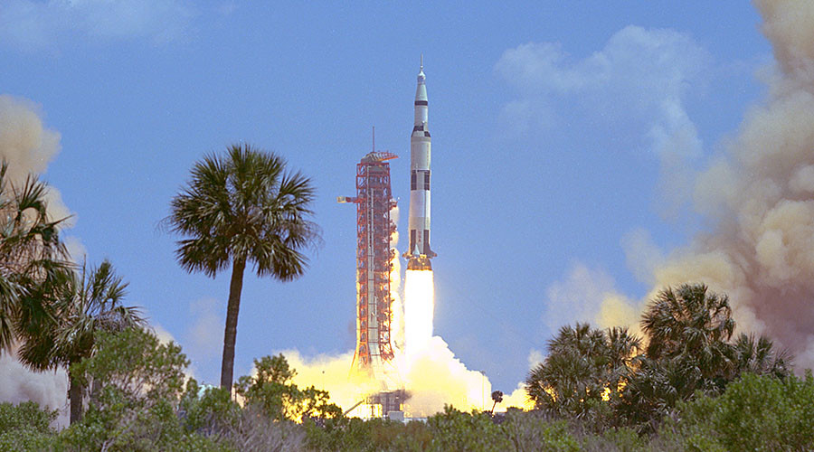 Apollo 16 launches from the Kennedy Space Center on April 16, 1972. ©NASA