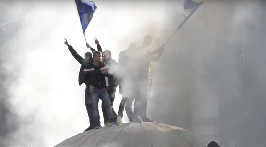 'Desperate ugliness & miserable vandalism': Anti-govt protesters rage in Albanian capital (VIDEOS)