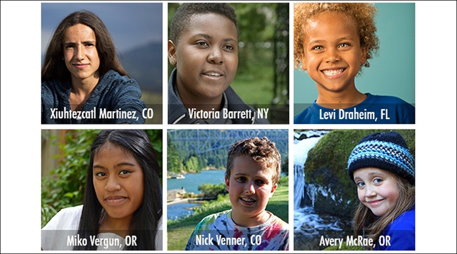 Six of the 21 young people from across the U.S. that have filed a landmark constitutional climate change lawsuit against the federal government in the U.S. District Court for the District of Oregon. © Our Children's Trust
