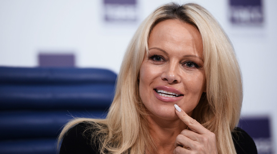 Actress, photo model and animal rights activist Pamela Anderson at a news conference in Moscow. © Maksim Blinov
