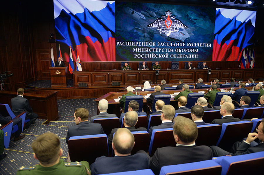 December 11, 2015. President Vladimir Putin speaks at the expanded meeting of Defense Ministry Board at the National Defense Management Center in Moscow. © Grigoriy Sisoev