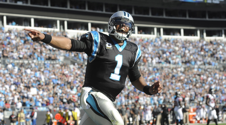 Carolina Panthers quarterback Cam Newton (1) celebrates after his team scores a touchdown during the game against the Atlanta Falcons. © Sam Sharpe