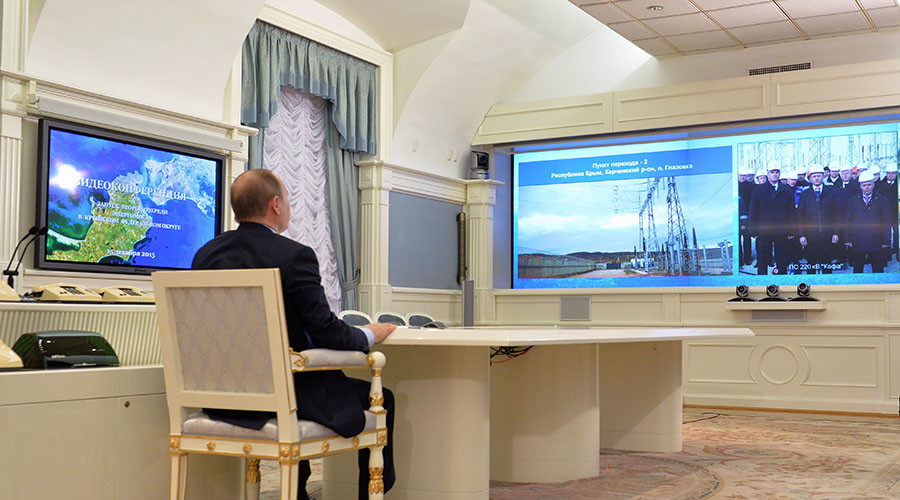 December 15, 2015. Russian President Vladimir Putin takes part in video conference, watches launching of the second stage of an energy bridge to the Crimea Federal District. © Alexei Druzhinin