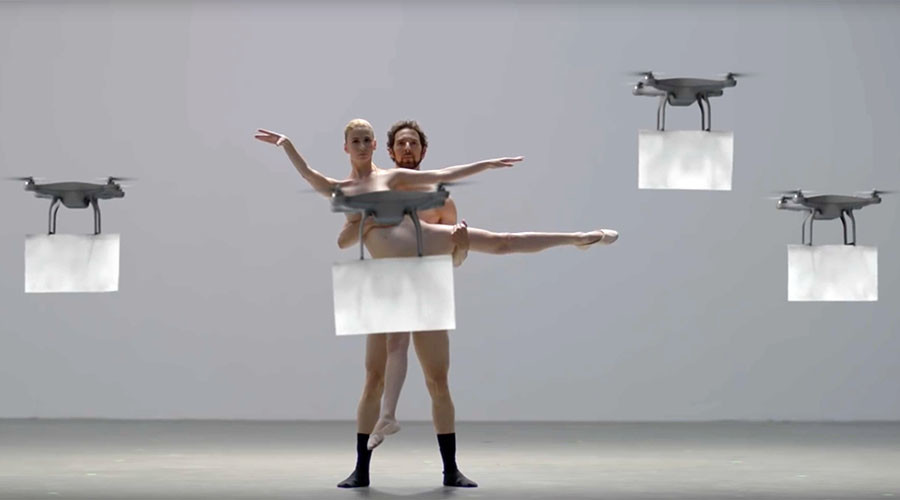 Drones perform 'Swan Lake' with naked ballet dancers