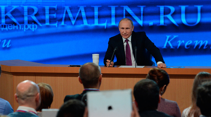 President Vladimir Putin giving the tenth annual major news conference at the World Trade Center, Krasnaya Presnya, Moscow, December 18, 2014 © Ramil Sitdikov