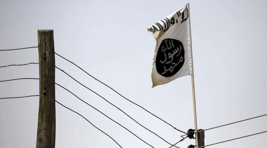 A Boko Haram flag flies in Damasak March 24, 2015. © Joe Penney