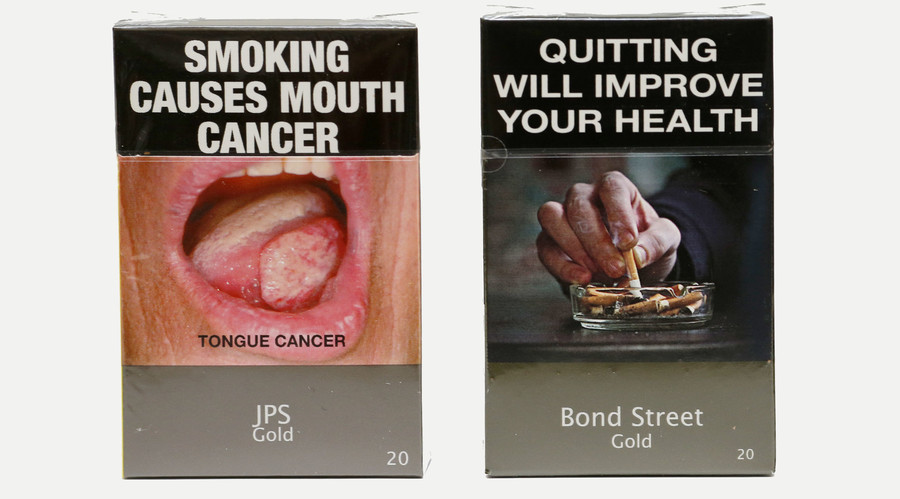 Photo illustration of new mandatory packaging for cigarettes sold in Australia. © Tim Wimborne