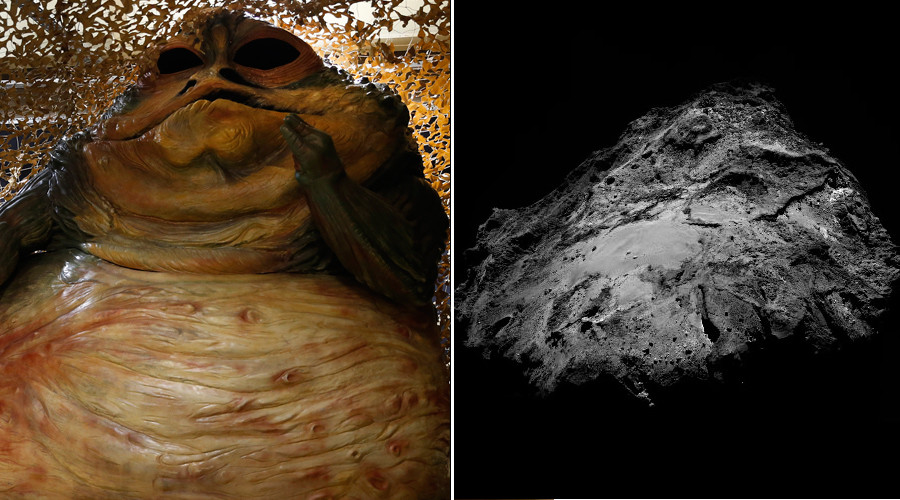 Jabba the Hutt (L) and Comet 67P © Reuters / twitter.com/Rosetta_OSIRIS