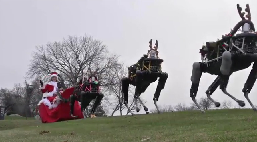 Christmas future: Santa's sleigh being pulled by animal-robots, not reindeer