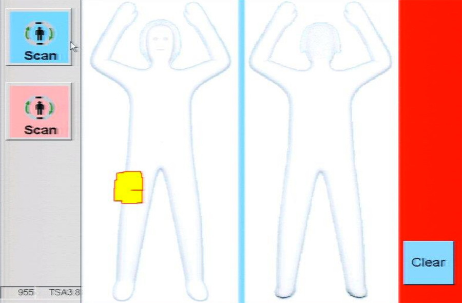 A sample image of the body imaging device display, from the December 2015 TSA Privacy Impact Assessment © dhs.gov