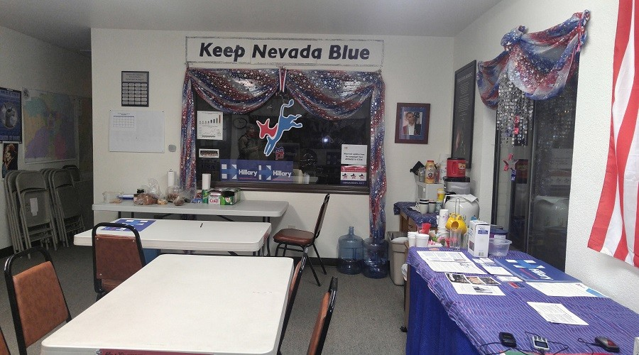 The Carson City Democrats office, with the Clinton campaign sub-office in the background