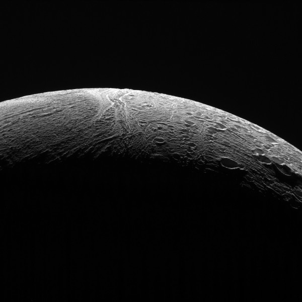 NASA's Cassini spacecraft peered out over the northern territory on Saturn's moon Enceladus, during its final close flyby of Enceladus, on Dec. 19, 2015