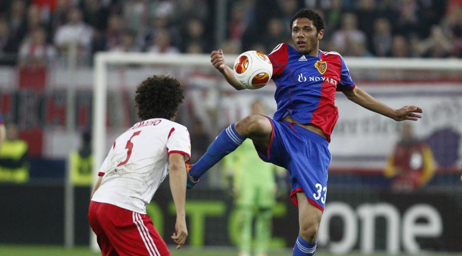 FC Basel's Mohamed Elneny (R) March 20, 2014. © Heinz-Peter Bader
