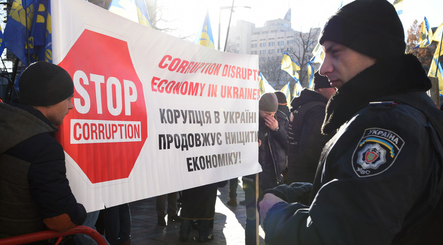 Protesters in Kiev demand the resignation of Ukrainian Prime Minister Arseny Yatsenyuk. © Stringer
