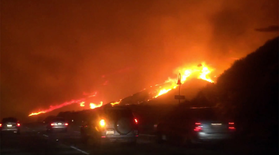 Furious wildfire forces California evacuations, highway closures (VIDEO)