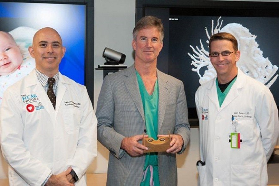 L to R: Dr. Juan Carlos Muniz, Director of Cardiac MRI; Dr. Redmond Burke, Director of Cardiovascular Surgery; Dr. John Rhodes, Director of The Heart Program collaborated to plan the surgery to help Teegan Lexcen © Nicklaus Children's Hospital