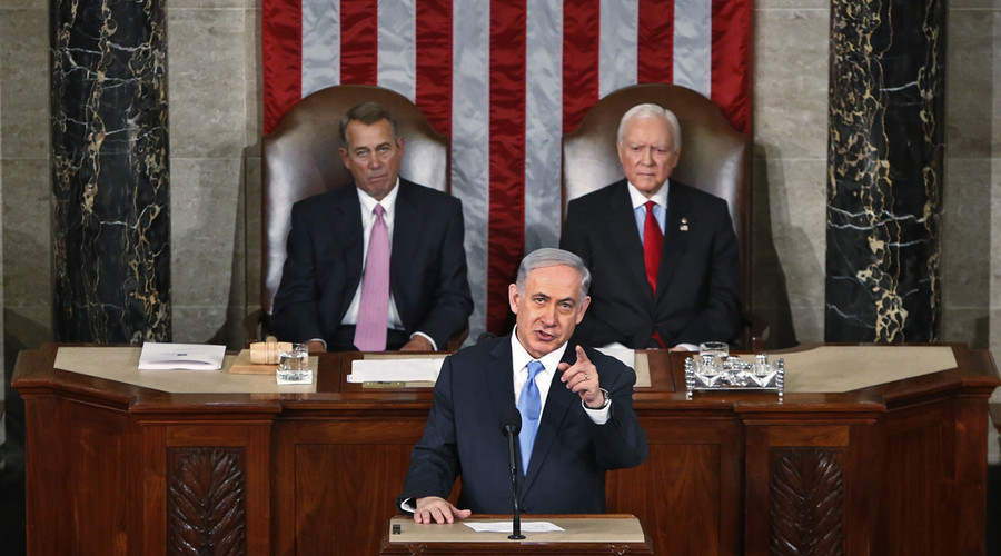 Israeli Prime Minister Benjamin Netanyahu addresses a joint meeting of Congress in the House Chamber on Capitol Hill in Washington. © Jonathan Ernst