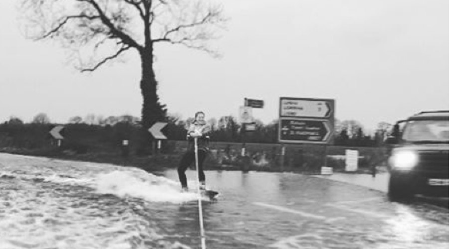 Nightmare floods turn Irish roads into… wakeboarding paradise (VIDEO)