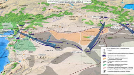 The routes of alleged oil smuggling from Syria and Iraq to Turkey © syria.mil.ru