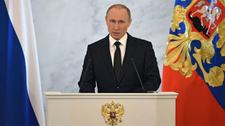 December 3, 2015. Russian President Vladimir Putin delivers his annual Presidential Address to the Federal Assembly at the Kremlin's St. George Hall. ©Ramil Sitdikov