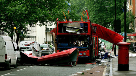 The bomb destroyed number 30 double-decker bus in Tavistock Square in central London July 8, 2005. © Dylan Martinez