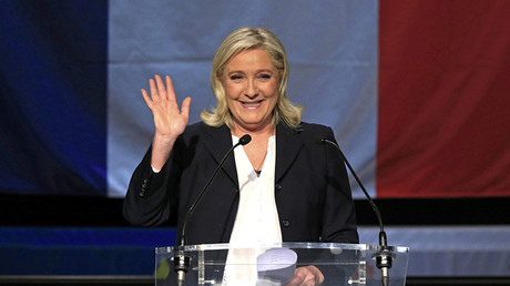 French National Front political party leader and candidate Marine Le Pen reacts as she delivers her speech after the announcement of the results during the first round of the regional elections in Henin-Beaumont, France, December 6, 2015. ©Pascal Rossignol