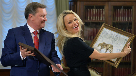 Pamela Anderson, Consultative Council member, International Fund of Animal Welfare, meeting in the Kremlin with the presidential office chief Sergei Ivanov. © Alexei Druzhinin