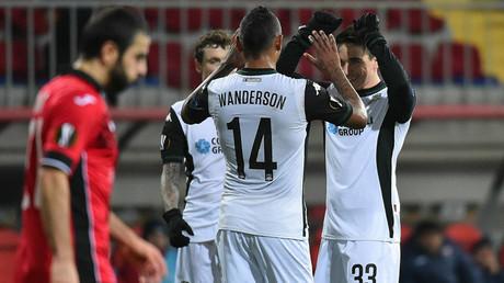 FC Krasnodar players celebrate a goal against Gabala (Azerbaijan) ©vk.com/fckrasnodar