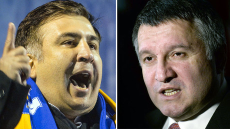 Odessa Region Governor Mikheil Saakashvili (L) and Ukrainian Interior Minister Arsen Avakov. © Sputnik