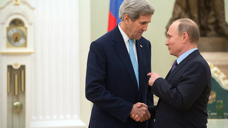 December 15, 2015. Russian President Vladimir Putin, right, and US Secretary of State John Kerry during a meeting in the Kremlin. ©Sergey Guneev