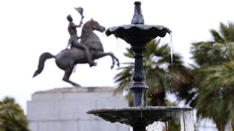 Icicles are seen forming on a fountain during winter at Jackson Square Park in New Orleans, Louisiana January 29, 2014. © Jonathan Bachman