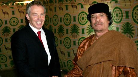 Tony Blair and Muammar Gaddafi © Leon Neal